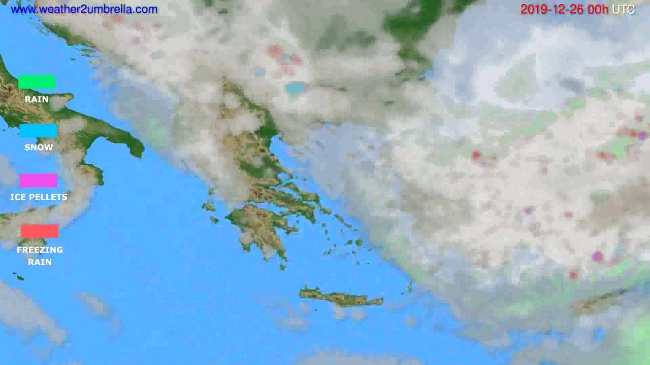 Precipitation forecast Greece // modelrun: 00h UTC 2019-12-25
