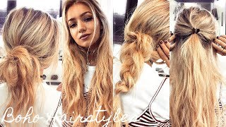 One Minute Boho Hairstyles / Quick & Easy Running Late Heatless Hair Tutorial
