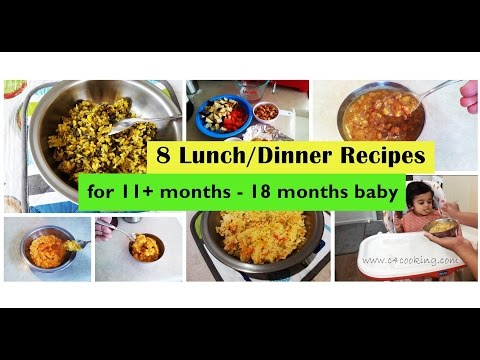 Video 8 Lunch/Dinner recipes for ( 11+months - 18 months Baby ) | homemade babyfood recipes |