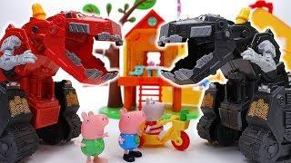 Go Go Dinotrux~! Shadow Ty-Rux Is Bullying Peppa Pig Friends