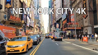Driving Downtown - NYC Theaters 4K - USA