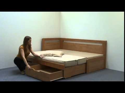 Video BMB Postel Tandem KLASIK s levou područkou - imitace dřeva Dekor: Bílá, Provedení: rovné, Rozměr: 90/180 x 200 cm 4