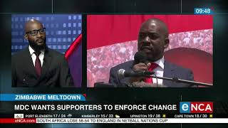 Zimbabwe is facing food and fuel shortages and the health and education sectors are also collapsing. MDC leader Nelson Chamisa says the country is on the brink of a civil war. Africa analyst Tapiwa Diamond Chadya spoke to Dan Moyane. Courtesy #DStv403