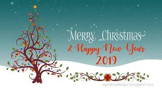 Christmas And New Year Greeting With Growing Vines Flourishes Christmas Tree And Falling Snowflakes