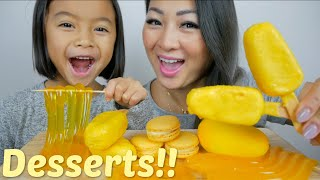 YELLOW Desserts *Mousse cake, Noodle Jelly, Cake Pop & Macaron Mukbang | N.E Let's Eat