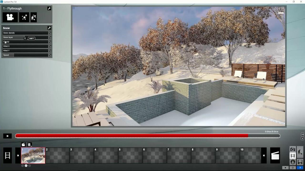エフェクト:雪エフェクトを使用する(Lumion7 series)