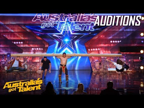 AMAZING Mongolian 'Strong Man' Takes Judges for a Ride | Auditions | Australia's Got Talent (видео)