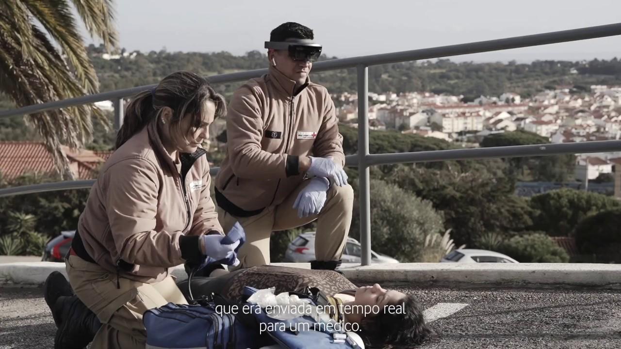Simulação de emergência médica, com apoio da rede 5G da Vodafone