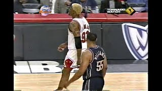 Jayson Williams Pushes Dennis Rodman After Dunk on Him! (Technical Foul) 1998 Playoffs