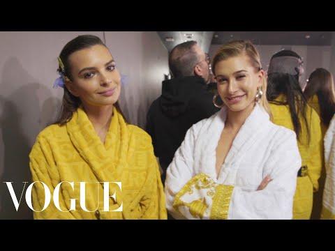 Hailey Baldwin, Gigi Hadid & Emily Ratajkowski Backstage at Versace's Show | Vogue