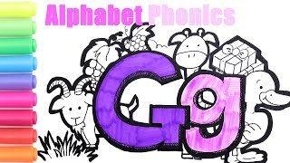 Alphabet Coloring Pages For Kids| How To Read And Spell|G Is For Goat Grape Grass Giraffe Gift Goose