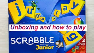 Unboxing and how to play scrabble junior.,board game