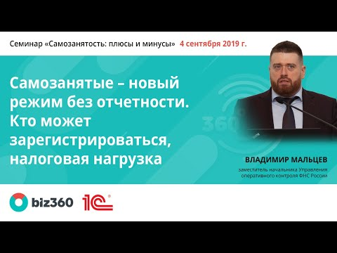 Самозанятые — новый режим без отчетности   Владимир Мальцев