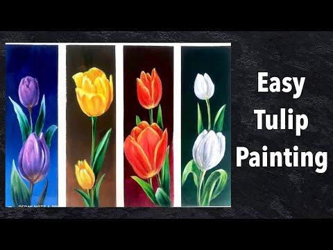 Tulip Painting  How to Paint Easy Flowers   Art Lobby Acrylic Painting Tutorial  DEMO\ASMR