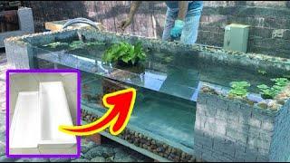 Make fish tank (Goldfish, Koi) with 2 Styrofoam box😍Làm hồ cá (Nam dương, Koi) ghép 2 thùng xốp