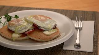 Protein Buttermilk Pancakes Benedict
