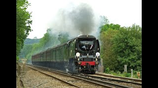preview picture of video 'BOB no.34067 'Tangmere' with 'THE THANET BELLE' at Nutfield and Redhill 07/06/12'