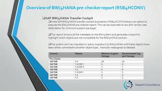 Unit 2 - Overview of the Pre Checker report for BW/4HANA in place migration.