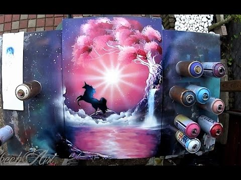 painting with spray cans pink unicorn by skech art