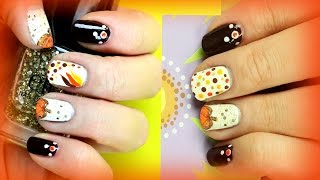 2 Thanksgiving Nail Art Designs for Beginners. DIY Easy Fall Nails.