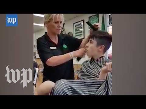 After two years of trying, this barber succeeded in giving an autistic boy a haircut