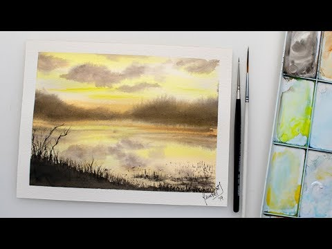 Watercolor impressionistic seascape painting - easy painting demo