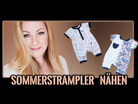 Baby Sommerkleidung nähen für Anfänger + Schnittmuster - Spieler / Kurz-Strampler / Overall Gr 56-62