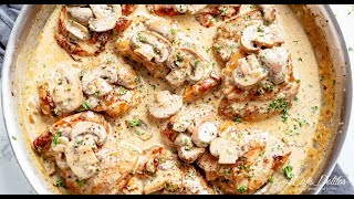 Chicken Thighs With Creamy Mushroom Garlic Sauce