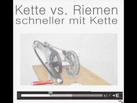 Video 1 :   Wirkungsgrad Riemen vs. Kette - mehr Kraftbedarf durch Riemen (Untertitel !)