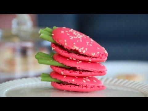 Strawberry Macaron, with Matcha Pocky Sticks | By BlanchTurnip