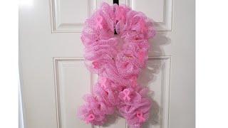 #diywreath #wreath #beastcancerwreath    DIY Beast Cancer Mesh Wreath🎀