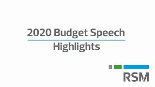 2020 Budget speech highlights