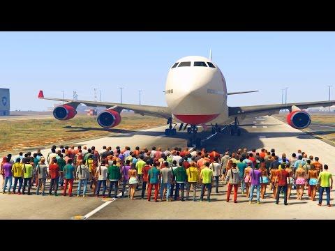 GTA 5: Dokáže 100 ľudí zastaviť lietadlo ?