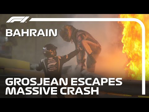 グロージャンのマシンが大炎上し大クラッシュ!危機一髪で脱出する衝撃映像 F1 バーレーンGP