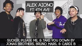 Sucker, Please Me, & Take You Down by Jonas Brothers, Bruno Mars, & Cardi B | Alex Aiono ft 4th AVE