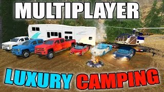 FARMING SIMULATOR 2017 | LUXURY CAMPING | BUGATTI + HELICOPTER | MULTIPLAYER