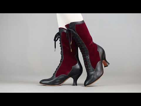 PRE-ORDER Camille Women's Edwardian Boots (Burgundy/Black)