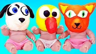 Куклы Пупсики Играют в Маски из пластилина Плей До Маша и Медведь угадывает для девочек. Зырики ТВ