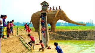 Fun Water Slides From Giant Toy Elephant For Village Kids - Amazing Slide Making By Smart Boys