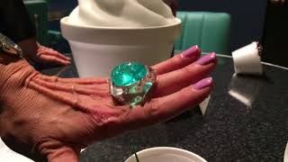 Suzanne Syz's 80-carat Paraiba tourmaline ring at PAD London