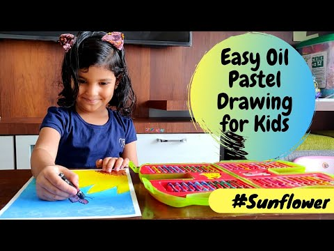 Easy Oil Pastel Drawing for Kids | Sunflower and Butterfly | Oil Pastel Art for Kids