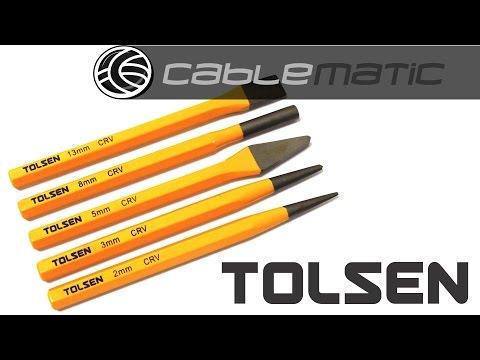 Kit 5 cinceles perforadores circulares y planos de herramientas Tolsen® distribuido por CABLEMATIC ®
