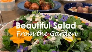 Beautiful Salad From The Garden - Leafy Greens And Edible Flowers