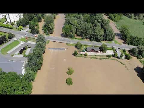 A Rinya áradása Nagyatádon légi felvételekről