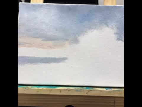 Painting a landscape in oil