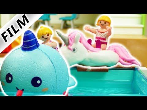 Playmobil Film deutsch | Hannah im Pool mit Einhorn + Unicorn Walfisch Schwimmreifen | Kinderserie