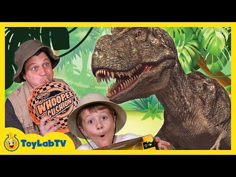 Giant Life Size T-Rex Dinosaur Runs After Park Ranger Aaron In Truck, Fun Kids Toy Dinosaurs Video