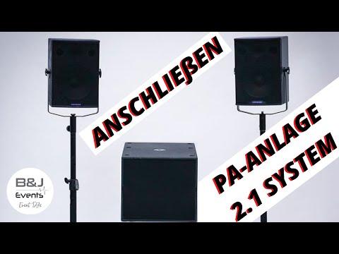 PA Anlage (2.1 System mit externem Verstärker) anschließen