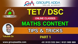 DSC / TET Maths Content Tips & Trics Part 1 ll AP & Telangana DSC Online Classes || DSC