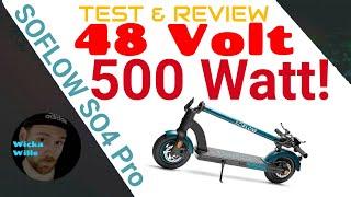 Soflow So4 Pro, 500 Watt starker e-Scooter mit Strassenzulassung, 48 Volt, S04 Pro Review, Deutsch